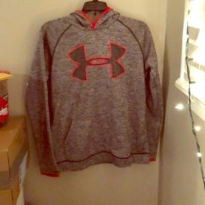 red and grey under armour hoodie